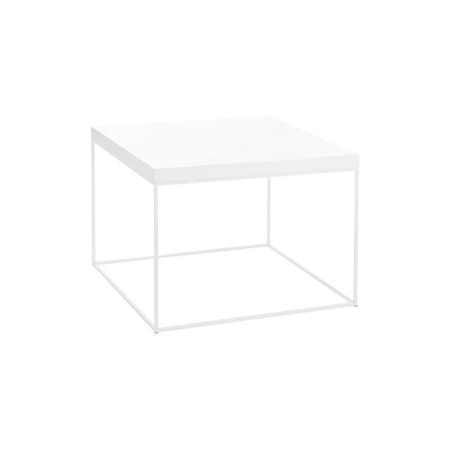 Table basse carrée en métal blanc 80x80x60cm