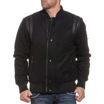 Blouson cuir noir avec bande blanche