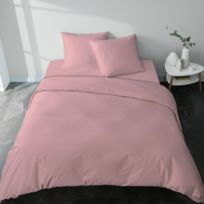 Housse de couette féminine et romantique rose poudré en percale de coton  bio, fabriquée en France - Uni Petale Percale Couleur - Poudre, Taille - ...