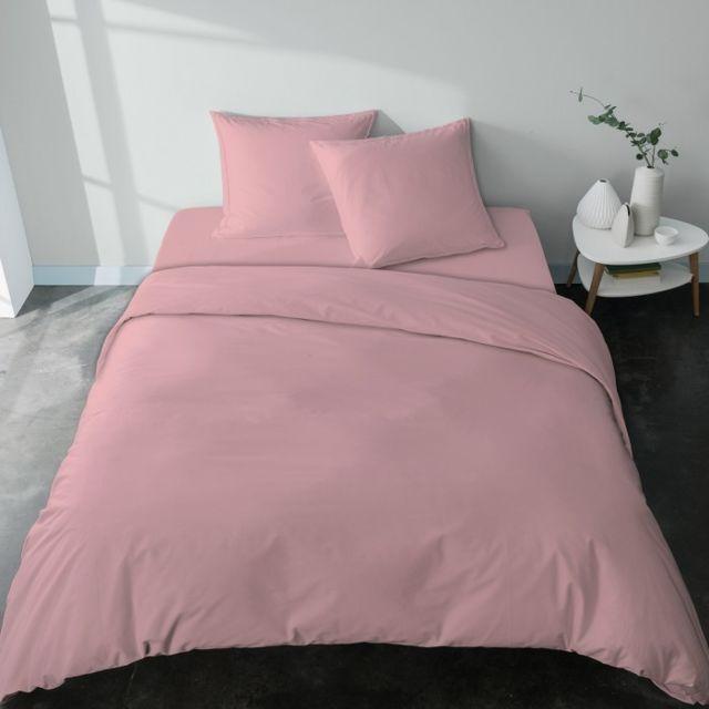 selene et gaia housse de couette f minine et romantique rose poudr en percale de coton bio. Black Bedroom Furniture Sets. Home Design Ideas