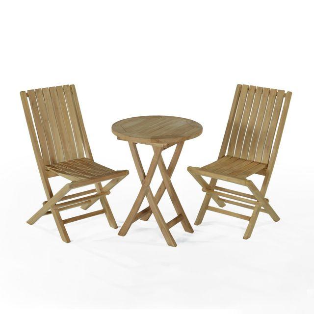 Teck\'ATTITUDE - Salon de jardin en teck Ecograde Darjeeling, table ...