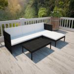 VIDAXL Salon d'extérieur noir avec canapé 3 places en polyrotin