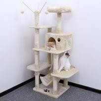 Superbe Arbre à chat grande capacité griffoir niches colonnes renforcées 154 cm beige Pct86M neuf