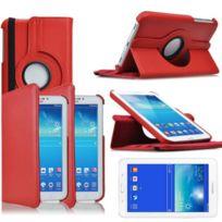 Vcomp - Housse avec support Et Rotation 360° en cuir Pu pour Samsung Galaxy Tab 3 Lite 7.0 T110/ Tab 3 Lite 7.0 Ve Wi-Fi T113/ Tab 3 V T116NU/ Tab 3 Lite 7.0 3G T111 - Rouge