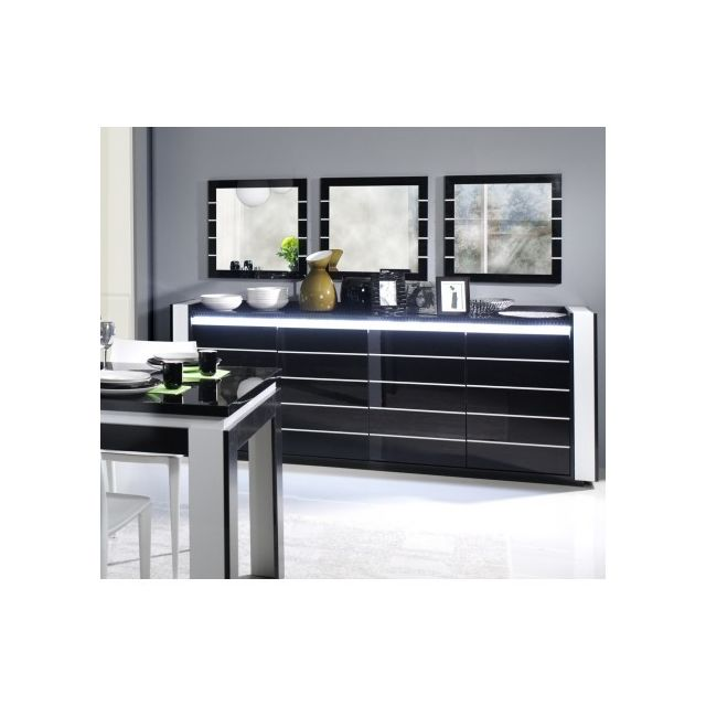 Price Factory - Buffet, bahut, enfilade Lina avec Led + 3 x miroirs ...