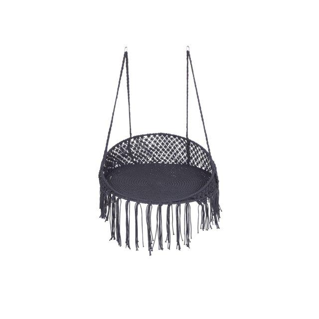 Chaise suspendue en coton noir BUNYAN marron
