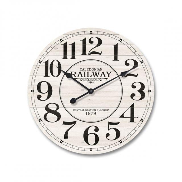 mobili rebecca horloge murale bois metal design vintage ronde 60 cm blanc shabby 60cm x. Black Bedroom Furniture Sets. Home Design Ideas