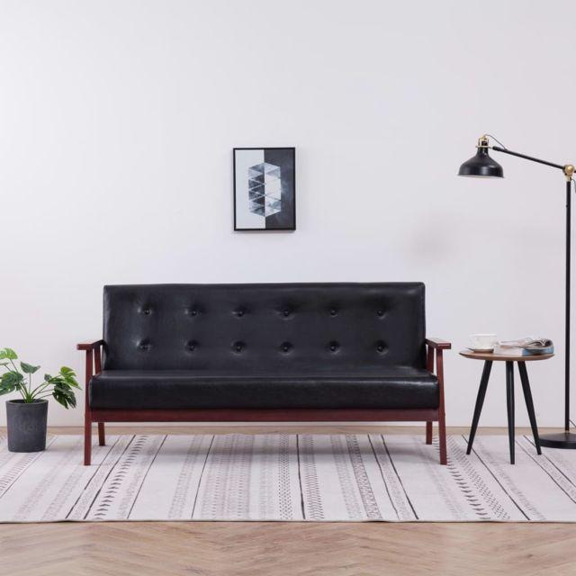 Moderne Meubles reference Oslo Canapé à 3 places Noir Similicuir