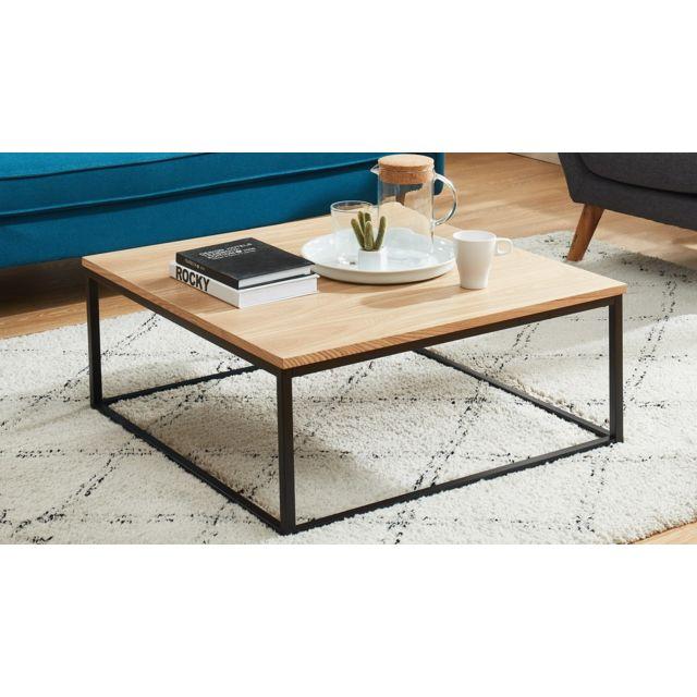 HOMIFAB Table basse industrielle 80x80x34 cm noir et effet chêne - Collection Brixton