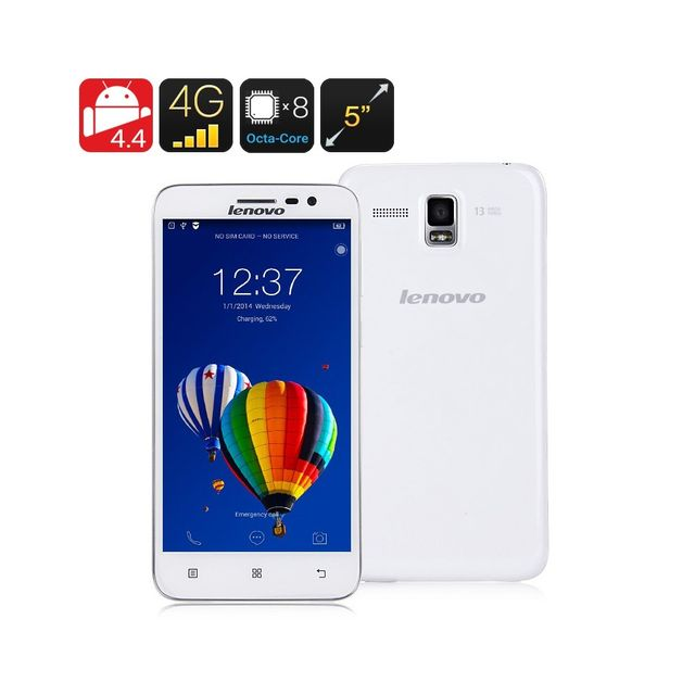 Auto-hightech Telephone smartphone Ecran 5 pouces 720p, Octa Core, 2 Go de Ram, Dual Band Wi-Fi, 4G, Hot Knot Blanc