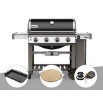 Weber - Barbecue gaz Genesis II E-410 GBS Noir + Plancha + Pierre à pizza + Thermomètre IGrill 3