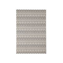 Akhal - Tapis 100% polypropylène tissé plat motif ethnique mosaique Imani - Gris/Ecru - 160x230cm