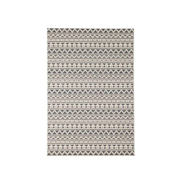 House Bay Tapis 100% polypropylène tissé plat motif ethnique mosaique Imani - Gris/Ecru - 135x190cm
