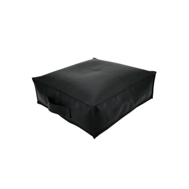 Cotton Wood Coussin de sol Spencer Garni Simili Noir - 45x45x15cm