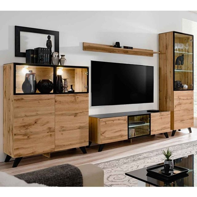 paris prix ensemble meuble tv biblioth que thin noir naturel marron pas cher achat. Black Bedroom Furniture Sets. Home Design Ideas