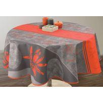 Le Linge De Jules - Nappe anti-taches Lotus rouge - taille : Ronde diamètre 160 cm