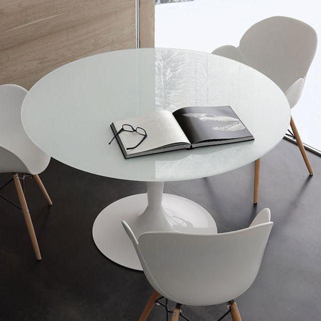 Nouvomeuble Table ronde blanche en verre et acier Olivia 2
