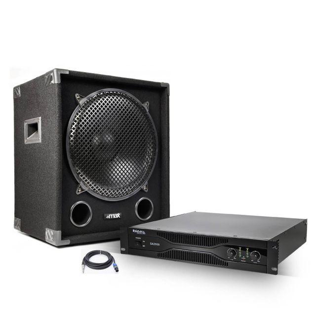 Ibiza Amplificateur sono 2x1000 W + Caisson de basse 1200 W + Câblage nécessaire