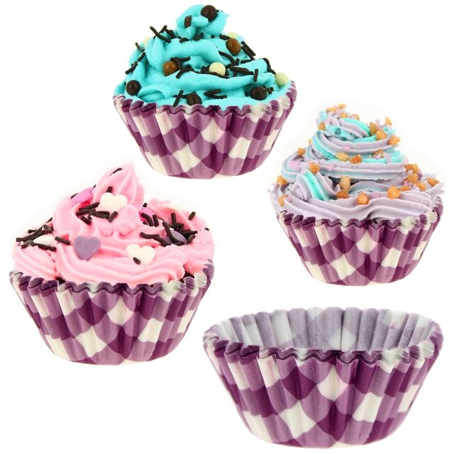 promobo lot 132 moules muffins et cupcakes en papier vichy gourmand rose pas cher achat. Black Bedroom Furniture Sets. Home Design Ideas