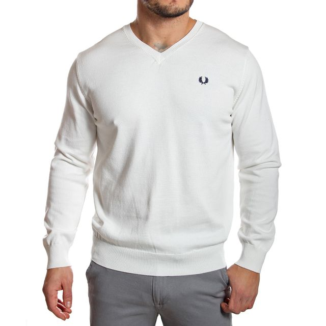 Fred Perry - Pull homme col V écru en coton