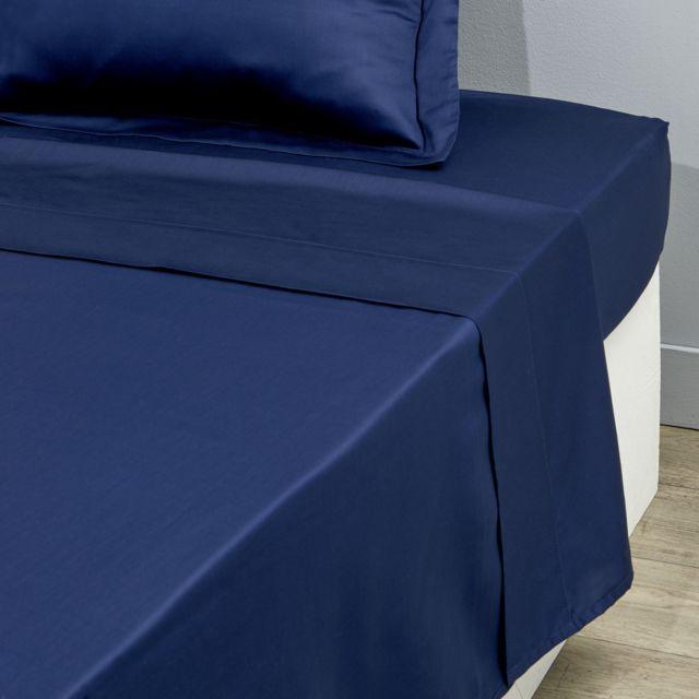 TEX HOME Drap plat uni en satin Drap platuni en satin 240x300 cm - bleu foncé
