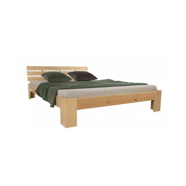 Homestyle4U Lit double en bois futon 180x200 bois naturel