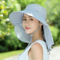 8b11aa3b40c1 Bonnet gris pour les Femmes Sports de plein air Activité 360 Degrés Uv  Protection Large Bord