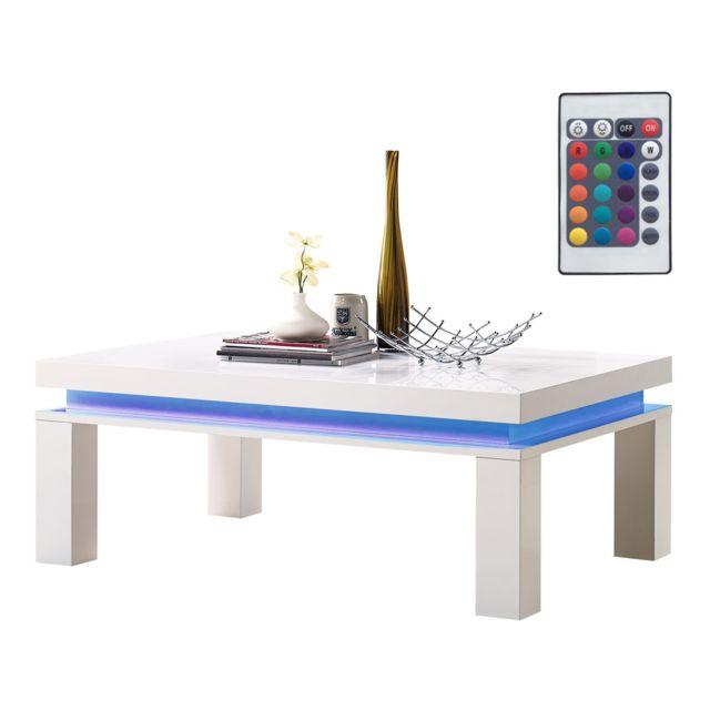HABITAT ET JARDIN Table basse LED Lila - 120 x 80 x 45 cm- Blanc laqué