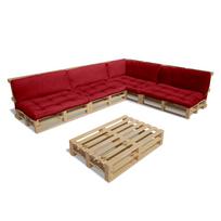 Rocambolesk - Superbe Ensemble salon d'extérieur en palette avec 9 coussins rouge 15 pcs Neuf
