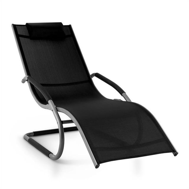 blumfeldt sunwave chaise longue transat relax aluminium noir - Chaise Longue Transat
