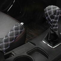 wewoo 2 pcs voiture frein blanc main couvercle de levier de vitesses bton coussin