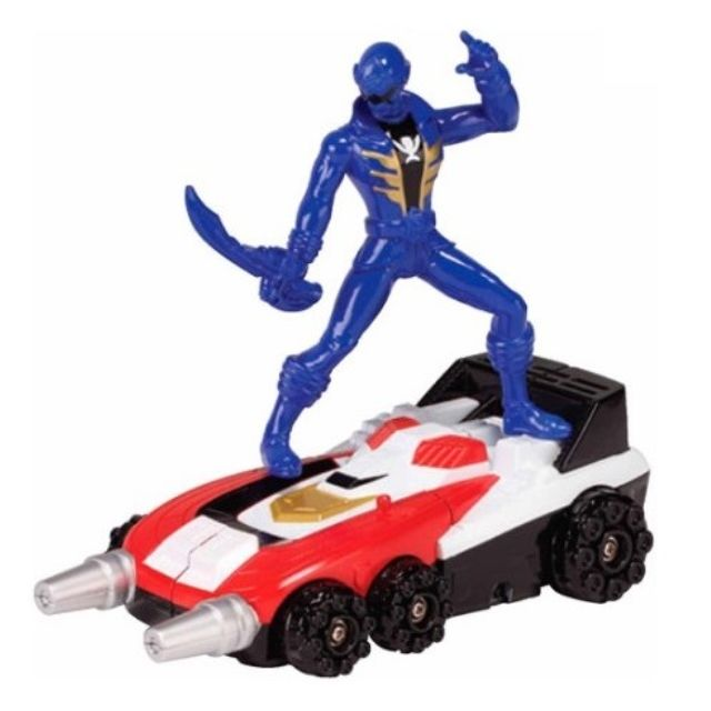 Power Rangers Voiture Rouge Tranformable Avec Figurine Power Ranger Bleu - Robot - Vehicule
