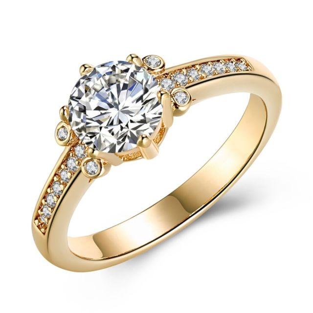 style à la mode prix attractif Royaume-Uni Bague pour femme brillant de luxe avec zircon or champagne - Taille 52