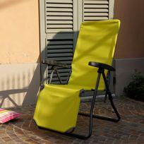 Stiliac - Chaise longue relax multiposition en acier et tissu synthétique sans têtière, Iris - Lime