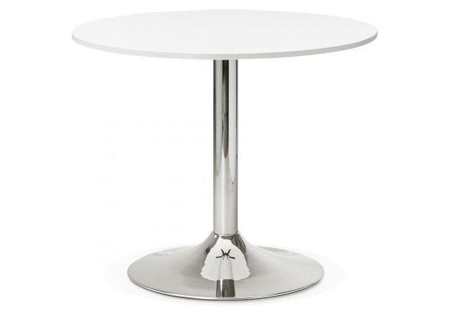 Kokoon Design Table Ronde Bois Blanche Pied Métal D90 Albury