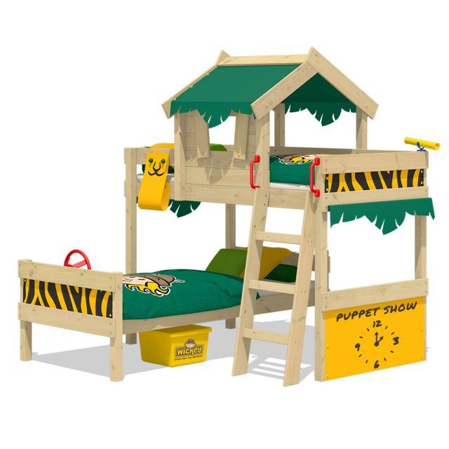 WICKEY lit enfant 'CrAzY Jungle' design Safari - Lit superposé en plusieurs combinaisons de couleurs - 90x200 cm