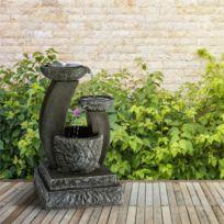 Fontaine décoration jardin 3W solaire LED polyrésine - aspect pierre