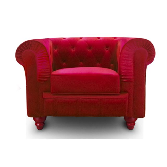 COTE COSY - Fauteuil Chesterfield Velours Rouge