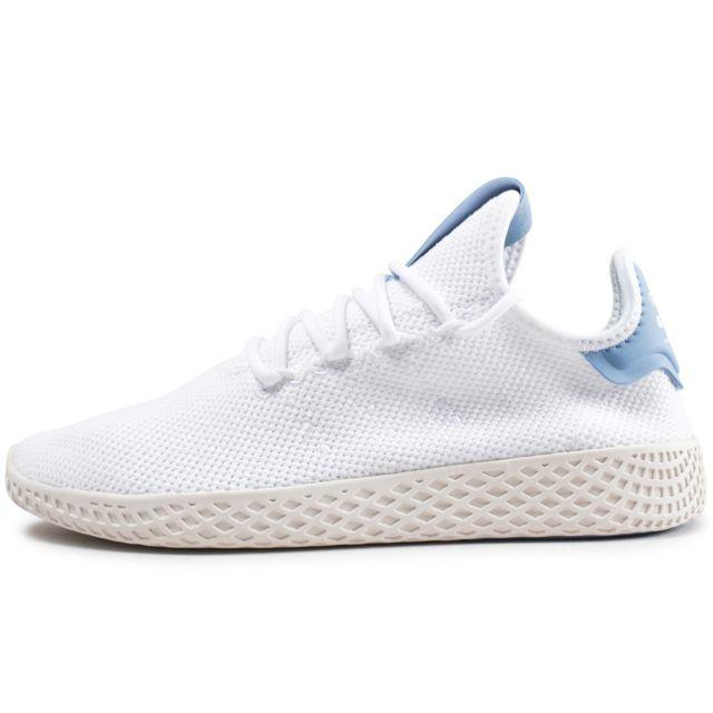 Adidas Pharrell Williams Tennis Hu Junior Blanche Et Bleu