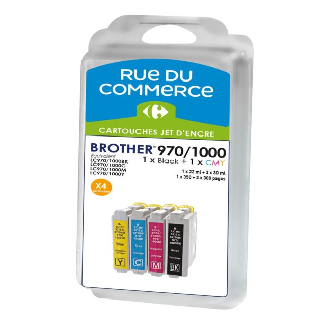 RUE DU COMMERCE Pack de 4 cartouches compatibles Brother LC970/LC1000 BK/C/M/Y Cartouches compatibles Brother LC970/LC1000 BK/C/M/Y - Noir : 1x20 ml + Couleurs : 3x15 ml