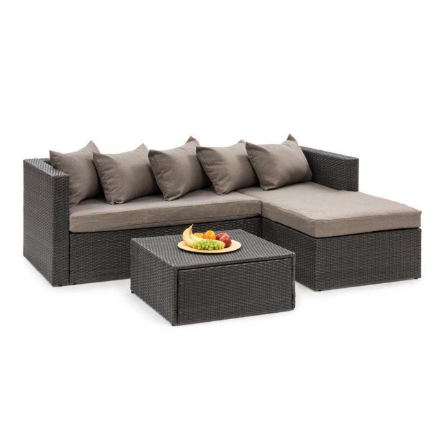 BLUMFELDT Theia Lounge Salon de jardin complet polyrotin noir & marron