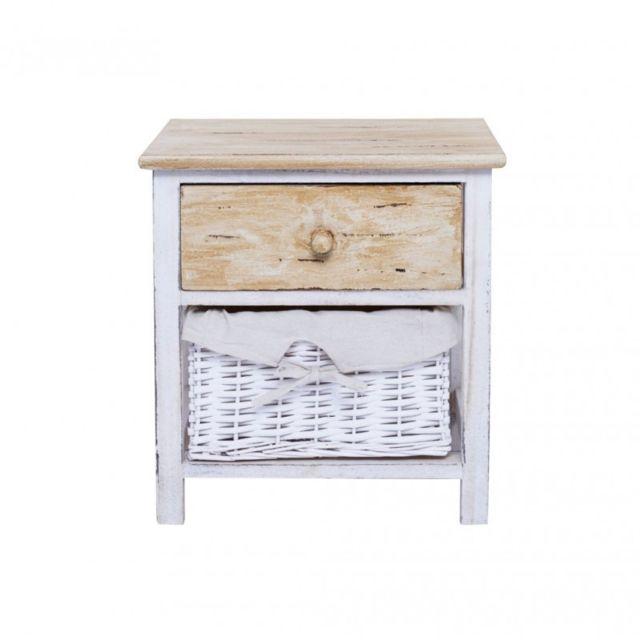 mobili rebecca table de chevet nuit 2 tiroirs rangement bois clair osier blanc vintage shabby. Black Bedroom Furniture Sets. Home Design Ideas