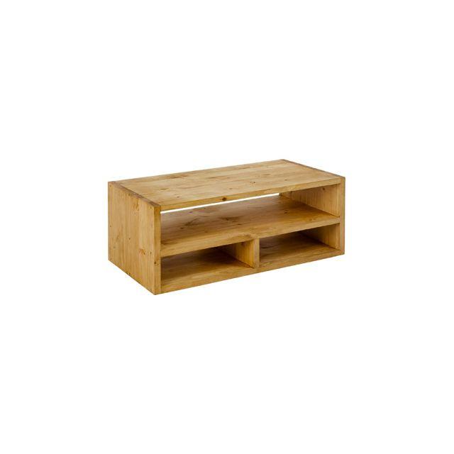 Table basse design 3 niches 110 cm en pin massif - Colro