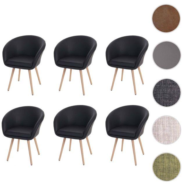 Mendler 6x chaise de salle à manger Malmö T633, fauteuil, design rétro des années 50 ~ similicuir, noir