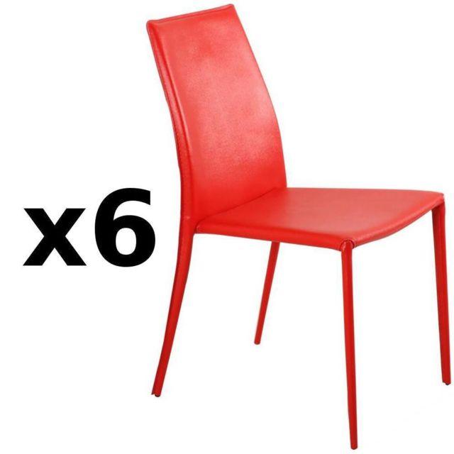 Inside 75 Lot de 6 chaises design Polo en tissu enduit polyuréthane simili façon cuir rouge