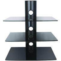Inotek - Falcon 103 Tablette murale pour périphériques audio vidéos - 3 tablettes en verre noir sécurit - 3 x 15 kg