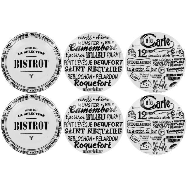 Promobo Coffret Bistrot Service 6 Assiettes A Fromage En Porcelaire Imprimé Bistrot