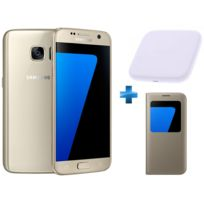 Samsung - Galaxy S7 Or + S View Cover + Chargeur induction