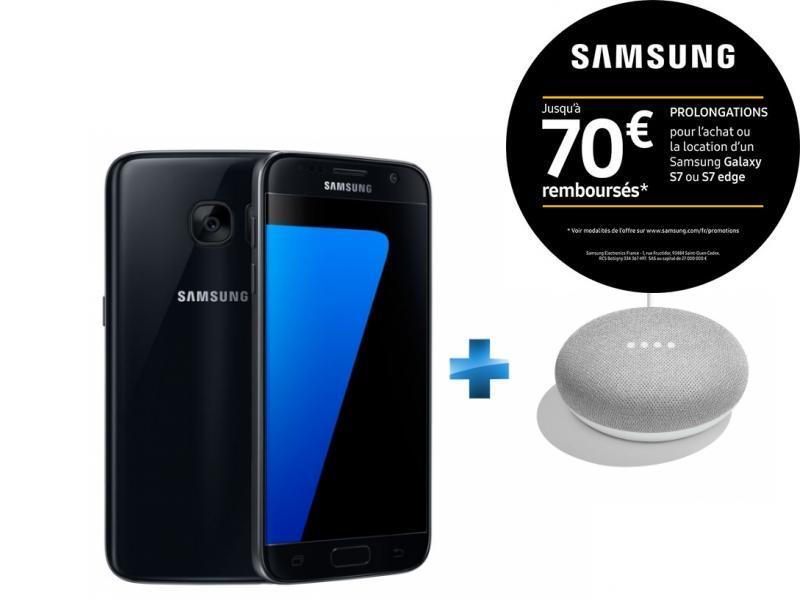 Galaxy S7 - Noir + Enceinte intelligente - Google Home mini