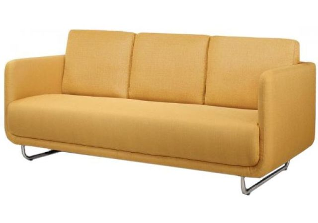 Declikdeco Canapé 3 places June design jaune pieds metal brossé